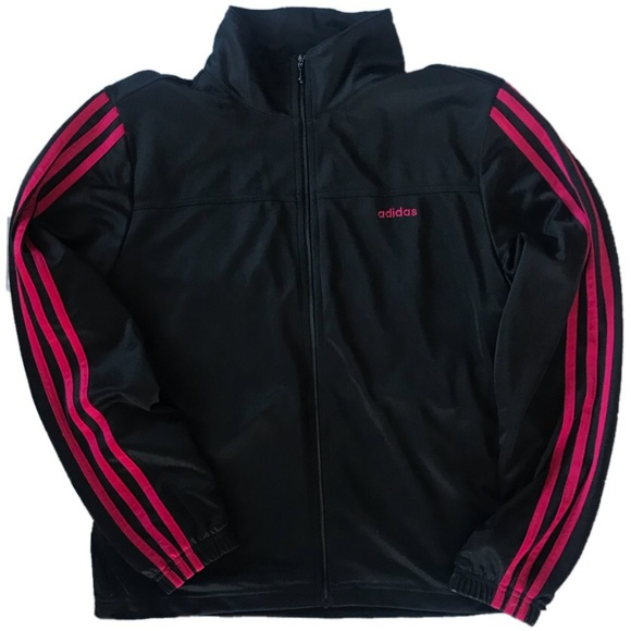Adidas Jackets Coats Black Track Jacket Red Stripes Size M